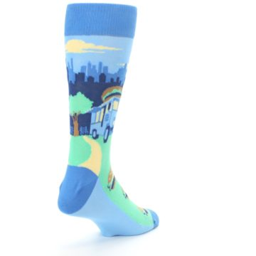 Image of Blue Food Truck Burgers Men's Dress Socks (side-1-back-21)