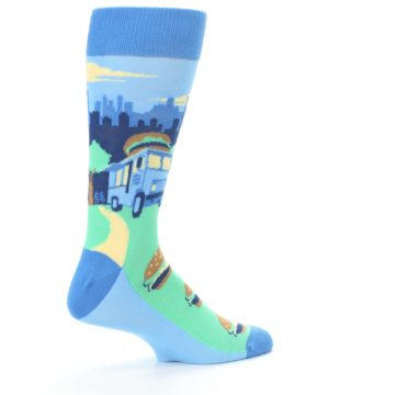 Image of Blue Food Truck Burgers Men's Dress Socks (side-1-23)
