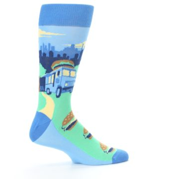 Image of Blue Food Truck Burgers Men's Dress Socks (side-1-24)