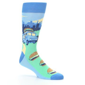 Image of Blue Food Truck Burgers Men's Dress Socks (side-1-26)