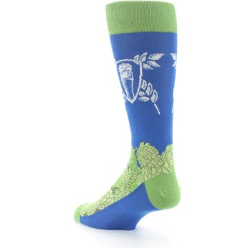 Image of Blue Green Beer Hops Men's Dress Socks (side-2-back-15)