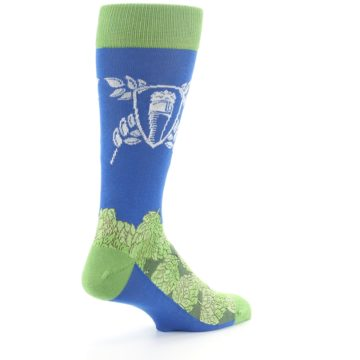 Image of Blue Green Beer Hops Men's Dress Socks (side-1-back-22)