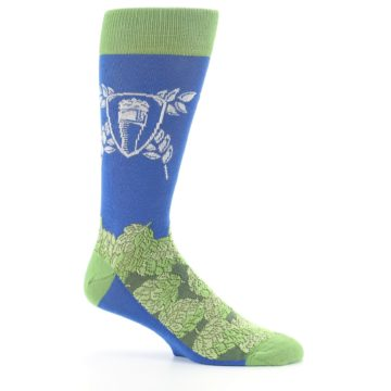 Image of Blue Green Beer Hops Men's Dress Socks (side-1-25)