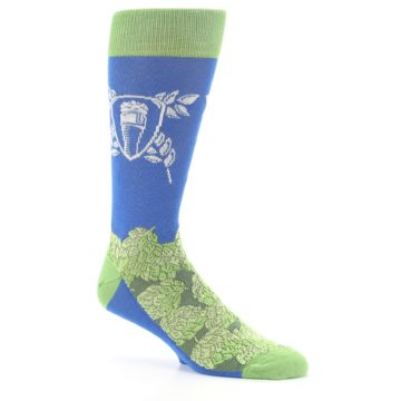 Image of Blue Green Beer Hops Men's Dress Socks (side-1-26)
