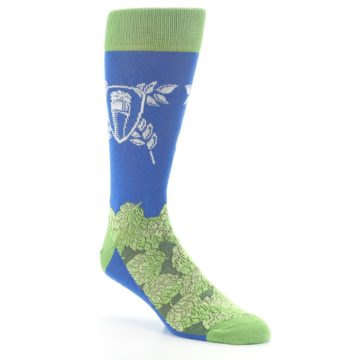 Image of Blue Green Beer Hops Men's Dress Socks (side-1-27)