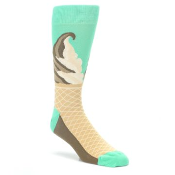 Seafoam-Green-Ice-Cream-Cone-Mens-Dress-Socks-Statement-Sockwear