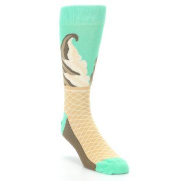 Image of Seafoam Green Ice Cream Cone Men's Dress Socks (side-1-front-02)