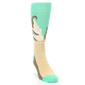 Image of Seafoam Green Ice Cream Cone Men's Dress Socks (side-1-front-03)