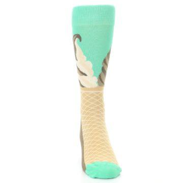 Image of Seafoam Green Ice Cream Cone Men's Dress Socks (front-04)