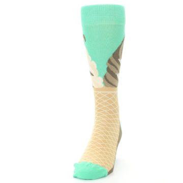 Image of Seafoam Green Ice Cream Cone Men's Dress Socks (side-2-front-06)