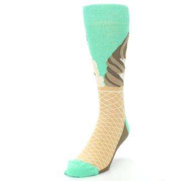 Image of Seafoam Green Ice Cream Cone Men's Dress Socks (side-2-front-07)