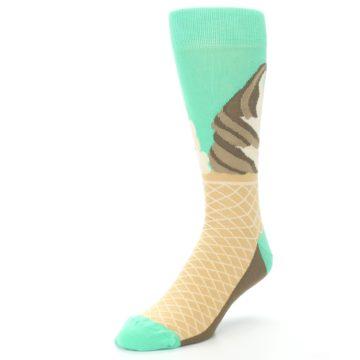 Image of Seafoam Green Ice Cream Cone Men's Dress Socks (side-2-front-08)