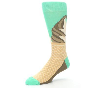 Image of Seafoam Green Ice Cream Cone Men's Dress Socks (side-2-09)