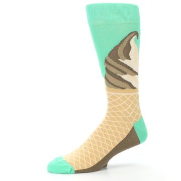 Image of Seafoam Green Ice Cream Cone Men's Dress Socks (side-2-10)