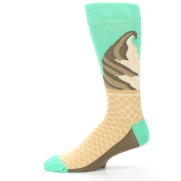 Image of Seafoam Green Ice Cream Cone Men's Dress Socks (side-2-11)