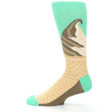 Image of Seafoam Green Ice Cream Cone Men's Dress Socks (side-2-12)