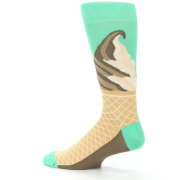 Image of Seafoam Green Ice Cream Cone Men's Dress Socks (side-2-13)