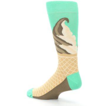Image of Seafoam Green Ice Cream Cone Men's Dress Socks (side-2-back-14)