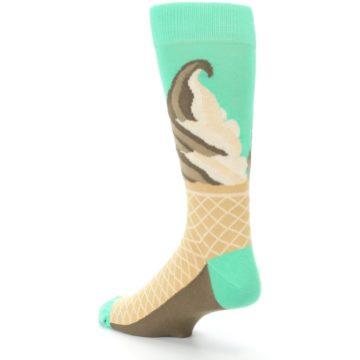 Image of Seafoam Green Ice Cream Cone Men's Dress Socks (side-2-back-15)