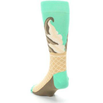 Image of Seafoam Green Ice Cream Cone Men's Dress Socks (side-2-back-16)