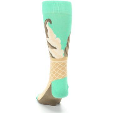 Image of Seafoam Green Ice Cream Cone Men's Dress Socks (back-17)