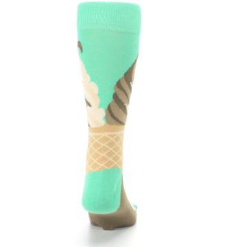 Image of Seafoam Green Ice Cream Cone Men's Dress Socks (back-19)