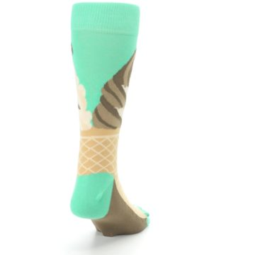 Image of Seafoam Green Ice Cream Cone Men's Dress Socks (side-1-back-20)