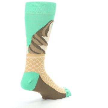 Image of Seafoam Green Ice Cream Cone Men's Dress Socks (side-1-back-22)