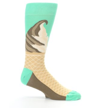 Image of Seafoam Green Ice Cream Cone Men's Dress Socks (side-1-25)