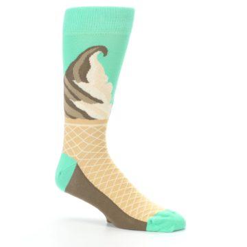 Image of Seafoam Green Ice Cream Cone Men's Dress Socks (side-1-26)