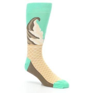 Image of Seafoam Green Ice Cream Cone Men's Dress Socks (side-1-27)