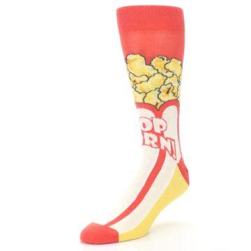 Image of Red White Pop Corn Men's Dress Socks (side-2-front-08)