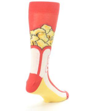 Image of Red White Pop Corn Men's Dress Socks (side-1-back-21)