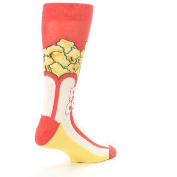 Image of Red White Pop Corn Men's Dress Socks (side-1-back-22)