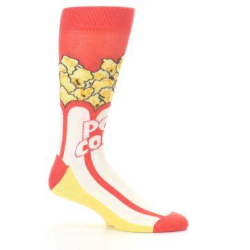 Image of Red White Pop Corn Men's Dress Socks (side-1-25)