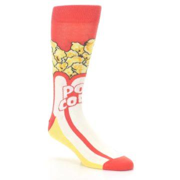 Image of Red White Pop Corn Men's Dress Socks (side-1-27)