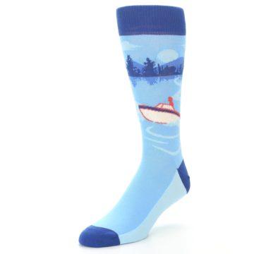 Image of Blue Speedboat Men's Dress Socks (side-2-front-08)