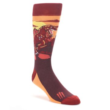 Maroon-Red-Raptor-Mens-Dress-Socks-Statement-Sockwear