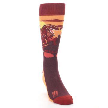 Image of Maroon Red Raptor Men's Dress Socks (side-1-front-03)