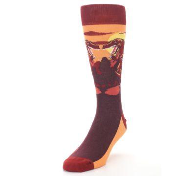 Image of Maroon Red Raptor Men's Dress Socks (side-2-front-07)