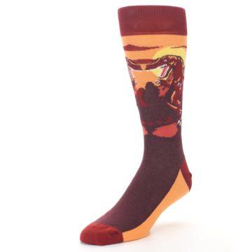 Image of Maroon Red Raptor Men's Dress Socks (side-2-front-08)