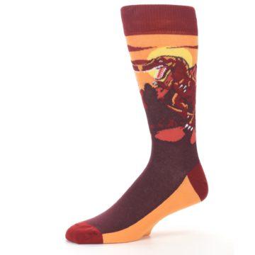Image of Maroon Red Raptor Men's Dress Socks (side-2-10)