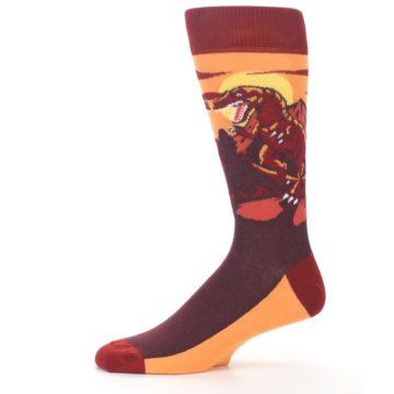 Image of Maroon Red Raptor Men's Dress Socks (side-2-11)