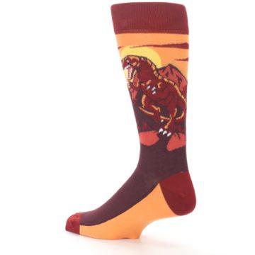 Image of Maroon Red Raptor Men's Dress Socks (side-2-back-14)
