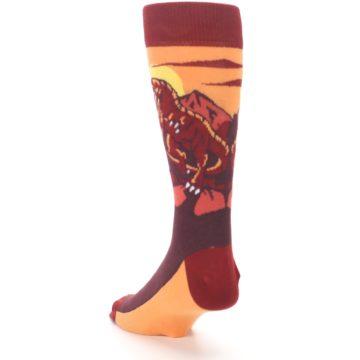 Image of Maroon Red Raptor Men's Dress Socks (side-2-back-16)