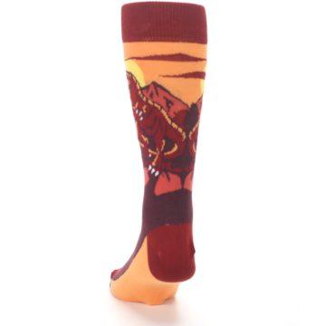 Image of Maroon Red Raptor Men's Dress Socks (back-17)
