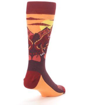 Image of Maroon Red Raptor Men's Dress Socks (side-1-back-21)