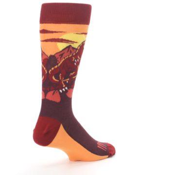 Image of Maroon Red Raptor Men's Dress Socks (side-1-back-22)
