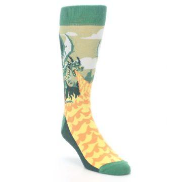 Image of Green Dragon Blowing Fire Men's Dress Socks (side-1-front-02)