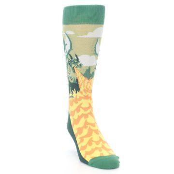 Image of Green Dragon Blowing Fire Men's Dress Socks (side-1-front-03)